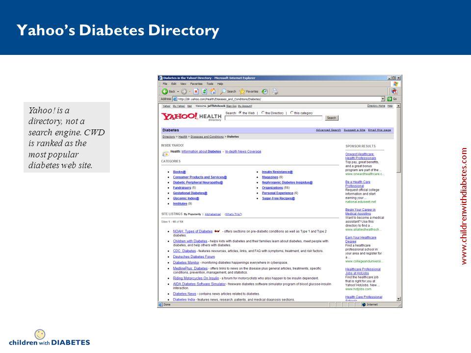 www.childrenwithdiabetes.com Yahoos Diabetes Directory Yahoo.