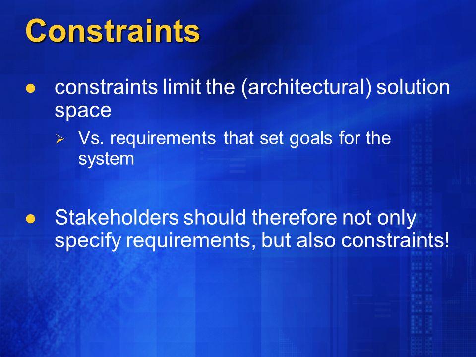 Constraints constraints limit the (architectural) solution space Vs.