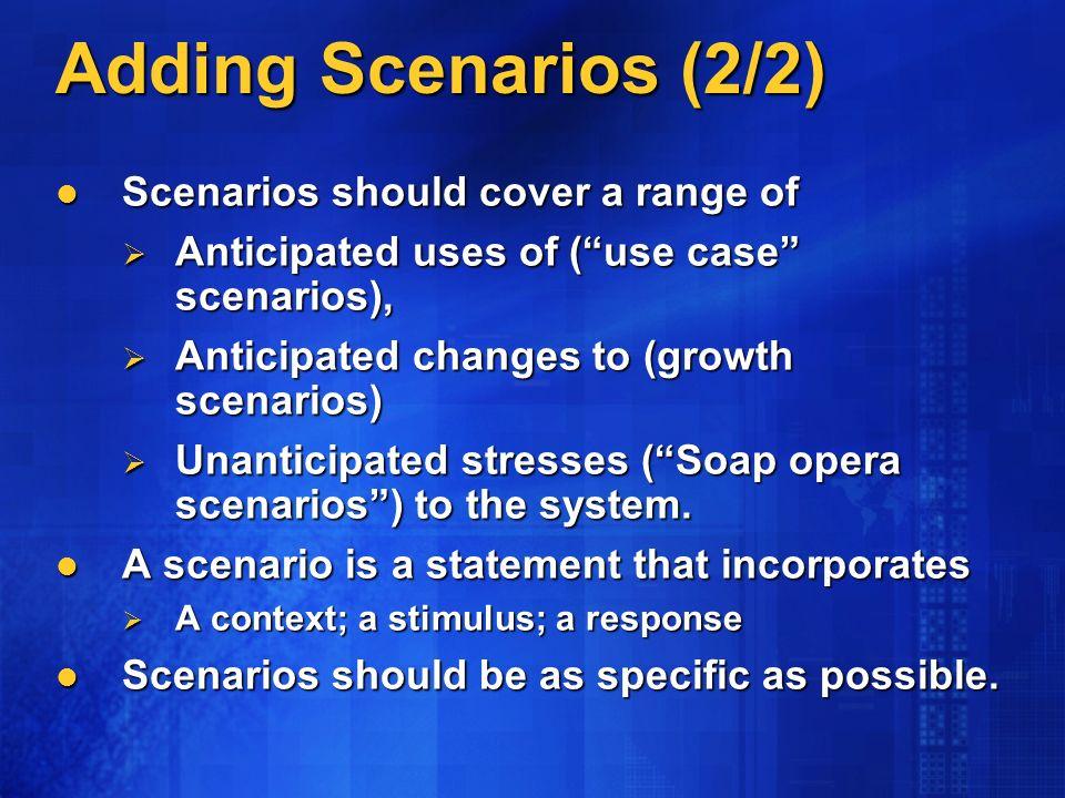 Adding Scenarios (2/2) Scenarios should cover a range of Scenarios should cover a range of Anticipated uses of (use case scenarios), Anticipated uses of (use case scenarios), Anticipated changes to (growth scenarios) Anticipated changes to (growth scenarios) Unanticipated stresses (Soap opera scenarios) to the system.