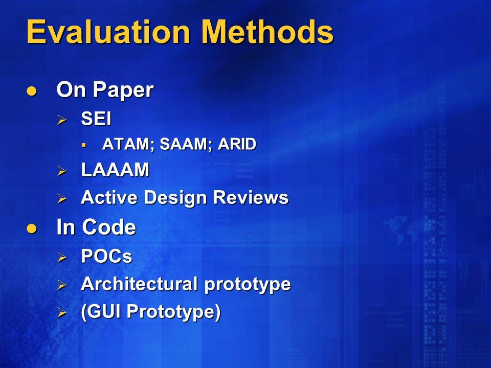 Evaluation Methods On Paper On Paper SEI SEI ATAM; SAAM; ARID ATAM; SAAM; ARID LAAAM LAAAM Active Design Reviews Active Design Reviews In Code In Code POCs POCs Architectural prototype Architectural prototype (GUI Prototype) (GUI Prototype)