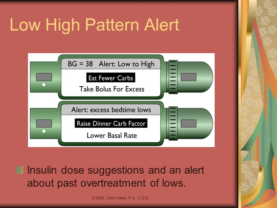 © 2004, John Walsh, P.A., C.D.E. Low High Pattern Alert Insulin dose suggestions and an alert about past overtreatment of lows.