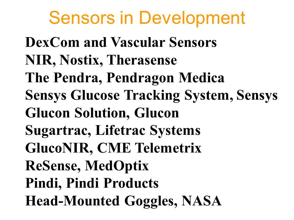 Sensors in Development DexCom and Vascular Sensors NIR, Nostix, Therasense The Pendra, Pendragon Medica Sensys Glucose Tracking System, Sensys Glucon