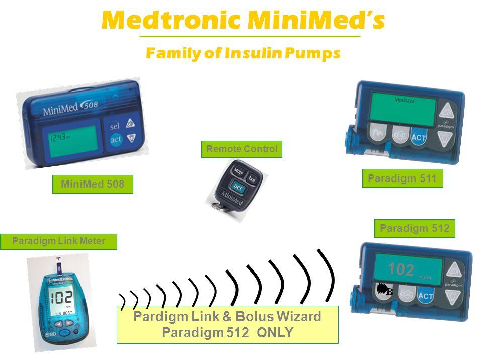 Pardigm Link & Bolus Wizard Paradigm 512 ONLY Medtronic MiniMeds Family of Insulin Pumps MiniMed 508 Paradigm 511 Paradigm Link Meter Paradigm 512 Rem