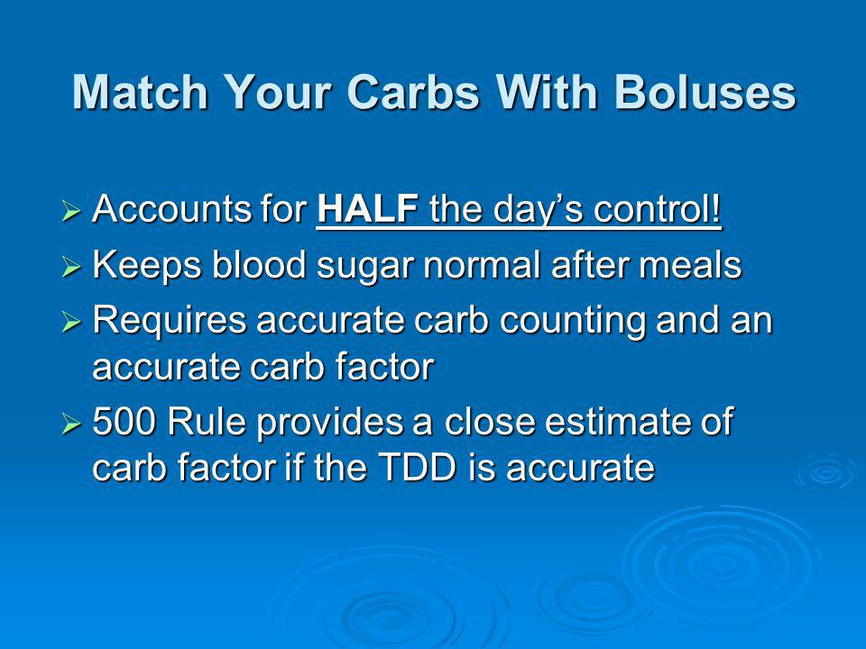 Match Your Carbs With Boluses Accounts for HALF the days control! Accounts for HALF the days control! Keeps blood sugar normal after meals Keeps blood