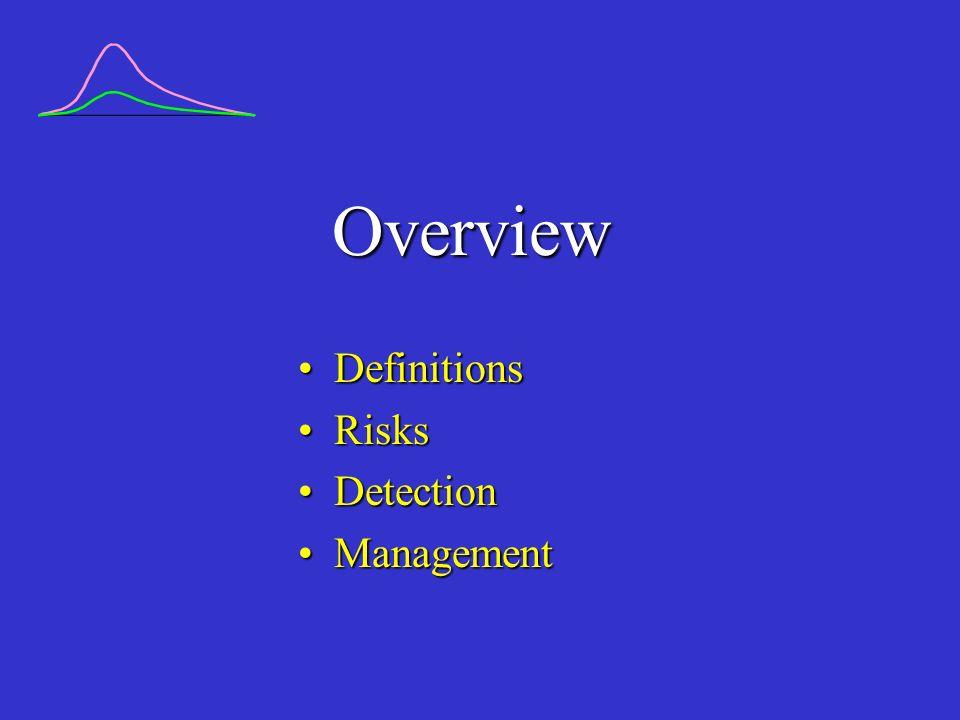 Overview DefinitionsDefinitions RisksRisks DetectionDetection ManagementManagement