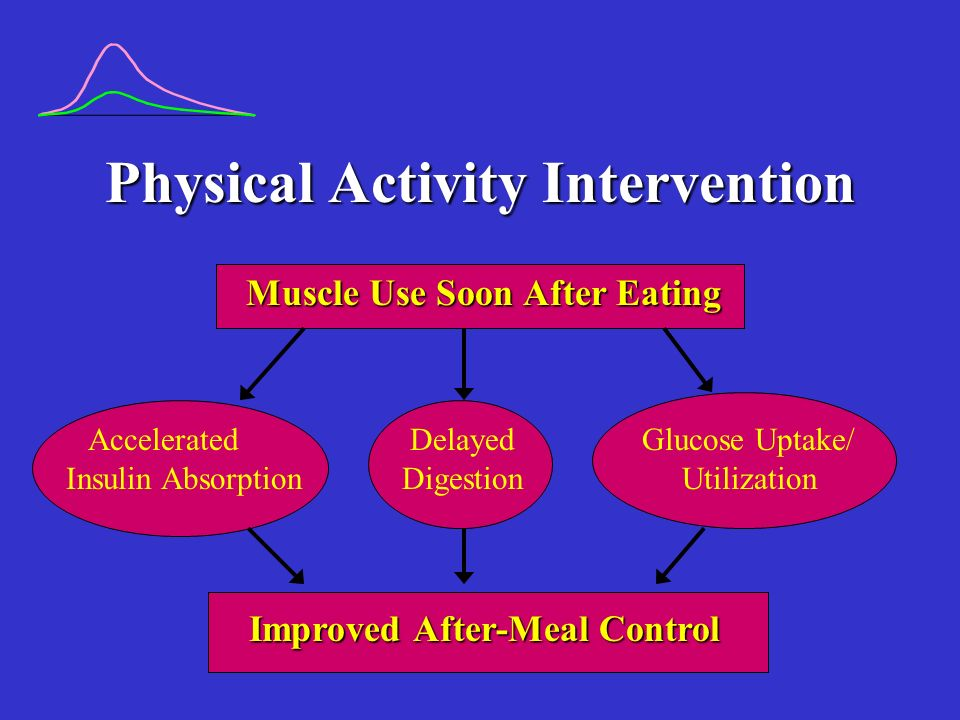 Physical Activity Intervention Muscle Use Soon After Eating Accelerated Delayed Glucose Uptake/ Insulin Absorption Digestion Utilization Improved After-Meal Control