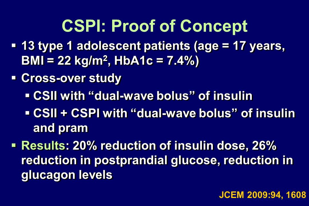 CSPI: Proof of Concept 13 type 1 adolescent patients (age = 17 years, BMI = 22 kg/m 2, HbA1c = 7.4%) Cross-over study CSII with dual-wave bolus of ins