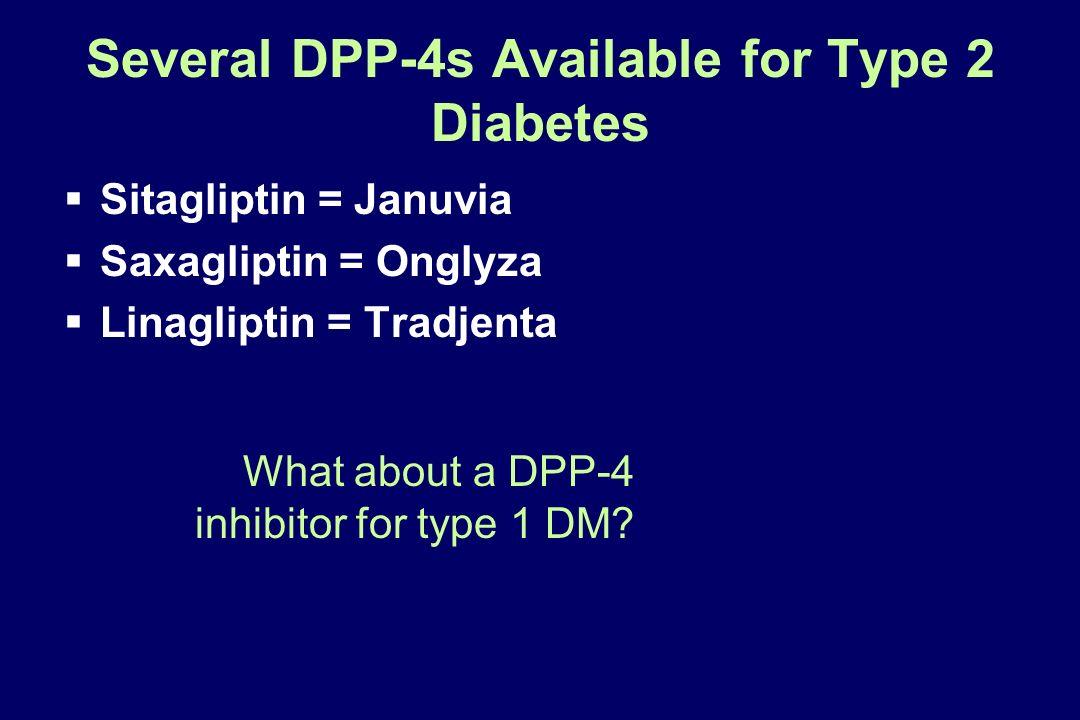 Several DPP-4s Available for Type 2 Diabetes Sitagliptin = Januvia Saxagliptin = Onglyza Linagliptin = Tradjenta What about a DPP-4 inhibitor for type