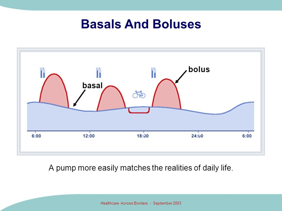 Healthcare Across Borders - September 2003 Basals And Boluses A pump more easily matches the realities of daily life. bolus basal