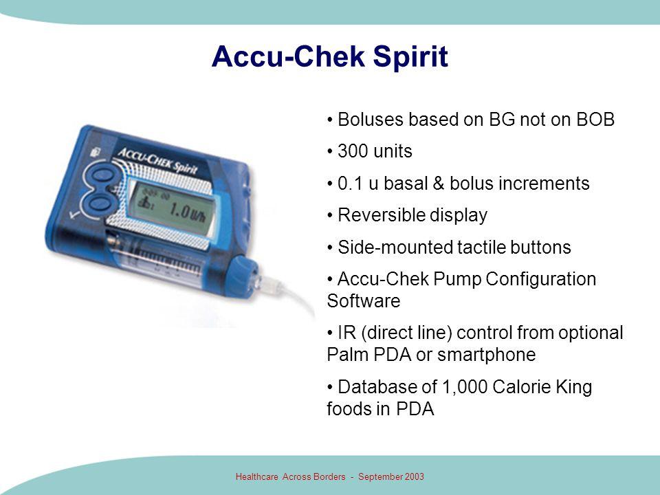 Healthcare Across Borders - September 2003 Accu-Chek Spirit Boluses based on BG not on BOB 300 units 0.1 u basal & bolus increments Reversible display