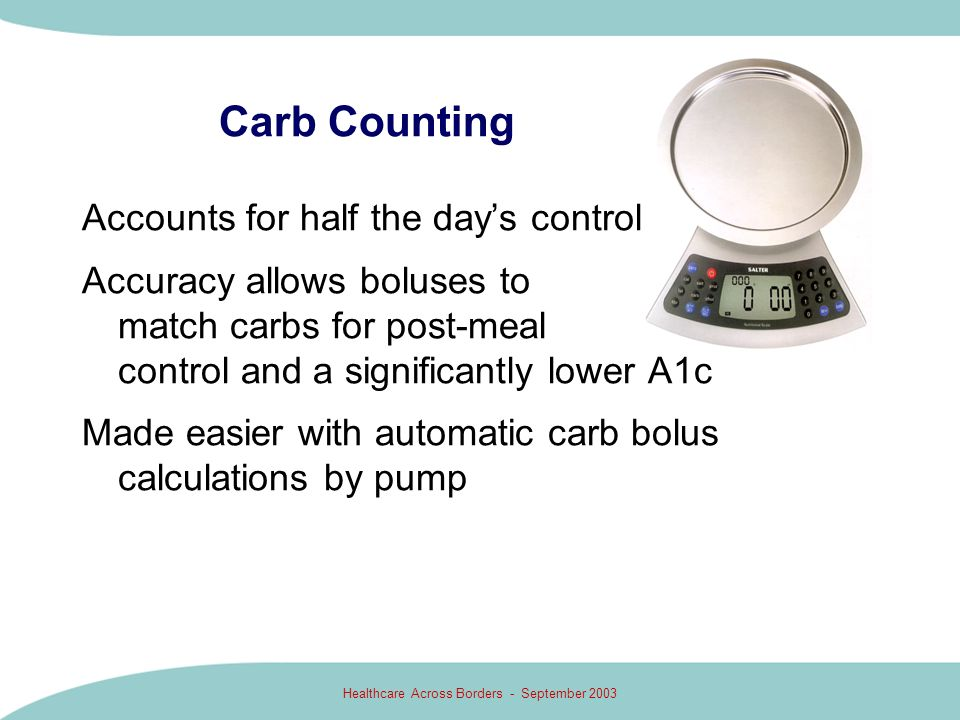 Healthcare Across Borders - September 2003 Carb Counting Accounts for half the days control Accuracy allows boluses to match carbs for post-meal contr
