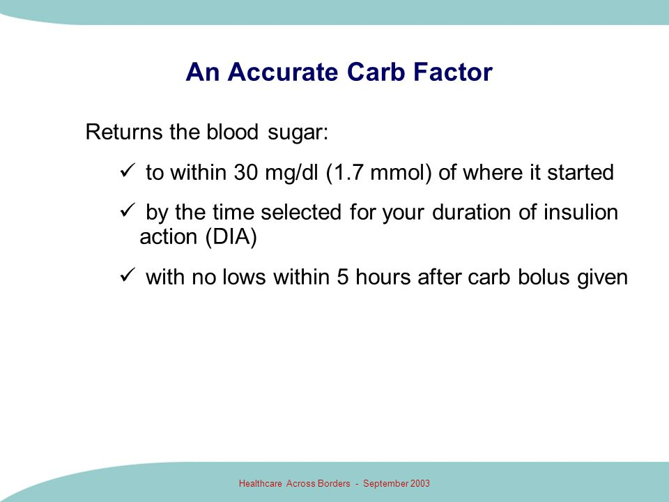 Healthcare Across Borders - September 2003 An Accurate Carb Factor Returns the blood sugar: to within 30 mg/dl (1.7 mmol) of where it started by the t