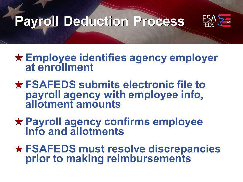 Payroll Deduction Process Employee identifies agency employer at enrollment FSAFEDS submits electronic file to payroll agency with employee info, allotment amounts Payroll agency confirms employee info and allotments FSAFEDS must resolve discrepancies prior to making reimbursements