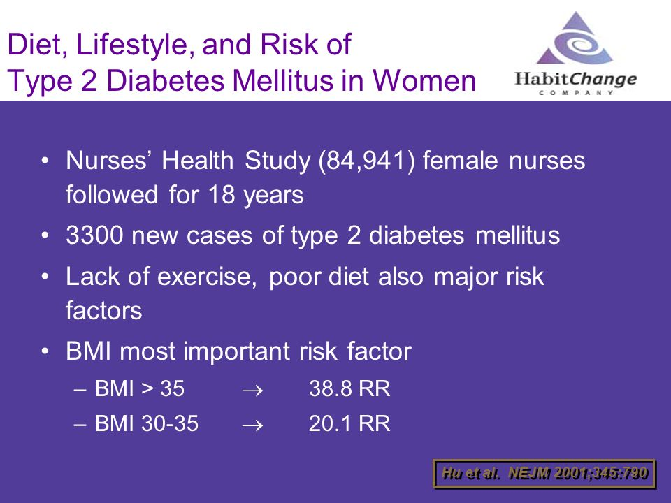 Diet, Lifestyle, and Risk of Type 2 Diabetes Mellitus in Women Nurses Health Study (84,941) female nurses followed for 18 years 3300 new cases of type