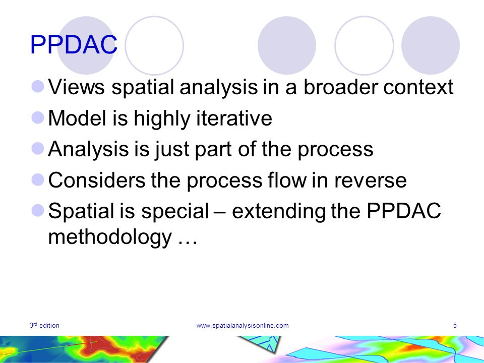 3 rd editionwww.spatialanalysisonline.com5 PPDAC Views spatial analysis in a broader context Model is highly iterative Analysis is just part of the pr