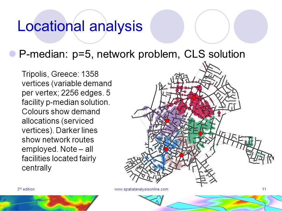 3 rd editionwww.spatialanalysisonline.com11 Locational analysis P-median: p=5, network problem, CLS solution Tripolis, Greece: 1358 vertices (variable demand per vertex; 2256 edges.