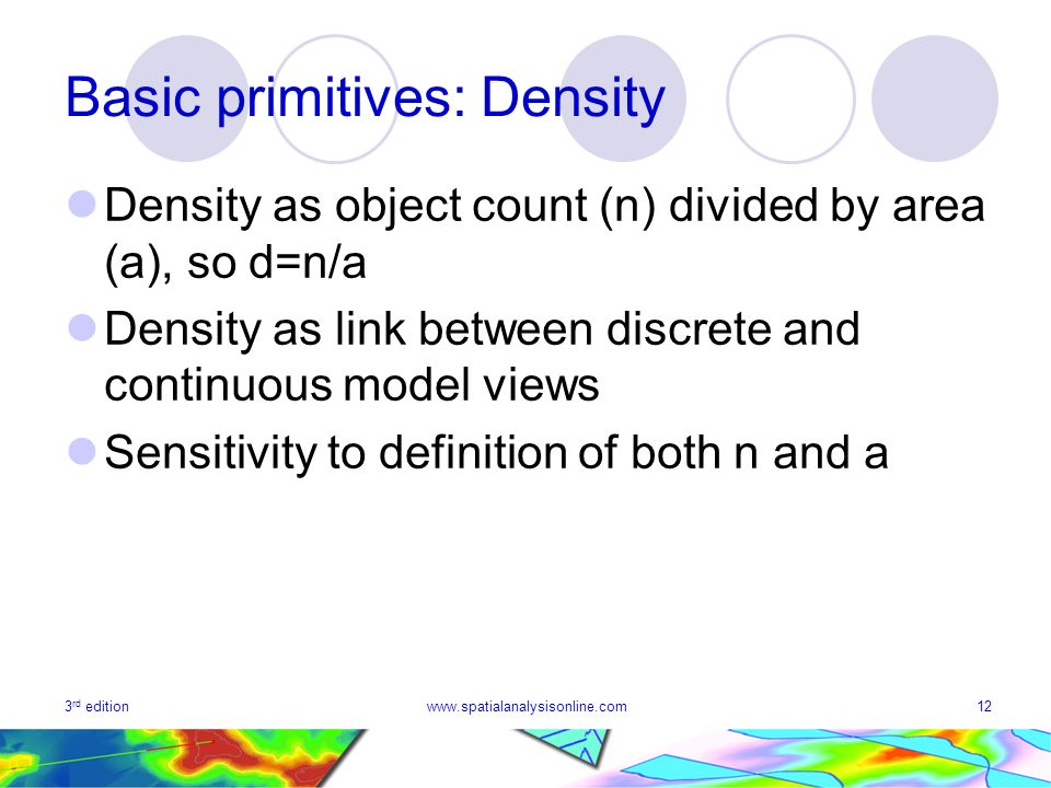 3 rd editionwww.spatialanalysisonline.com12 Basic primitives: Density Density as object count (n) divided by area (a), so d=n/a Density as link between discrete and continuous model views Sensitivity to definition of both n and a