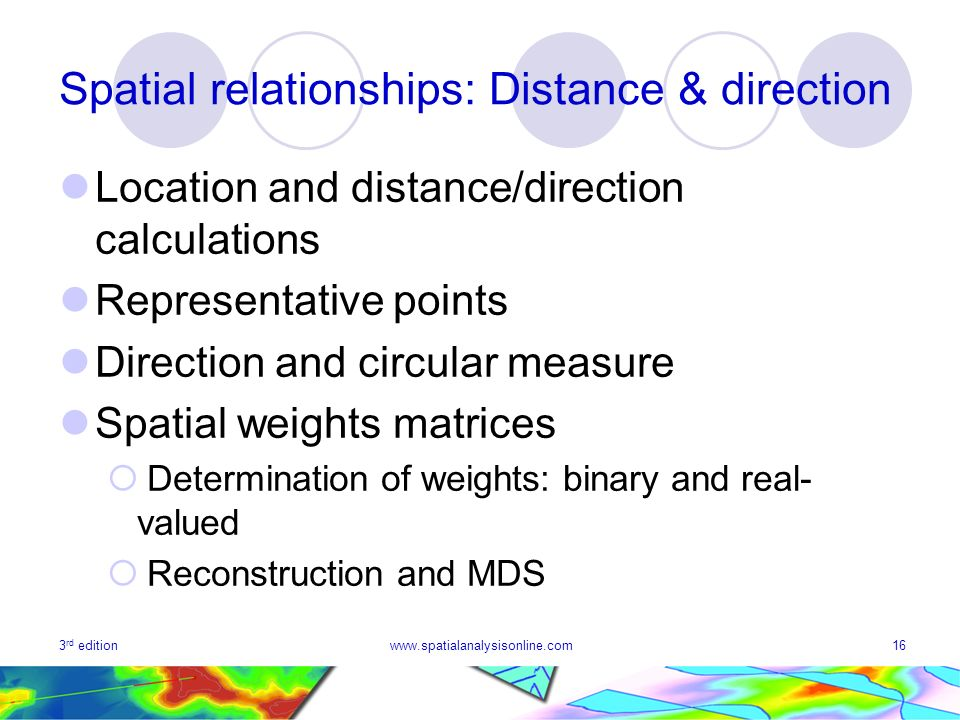 3 rd editionwww.spatialanalysisonline.com16 Spatial relationships: Distance & direction Location and distance/direction calculations Representative points Direction and circular measure Spatial weights matrices Determination of weights: binary and real- valued Reconstruction and MDS