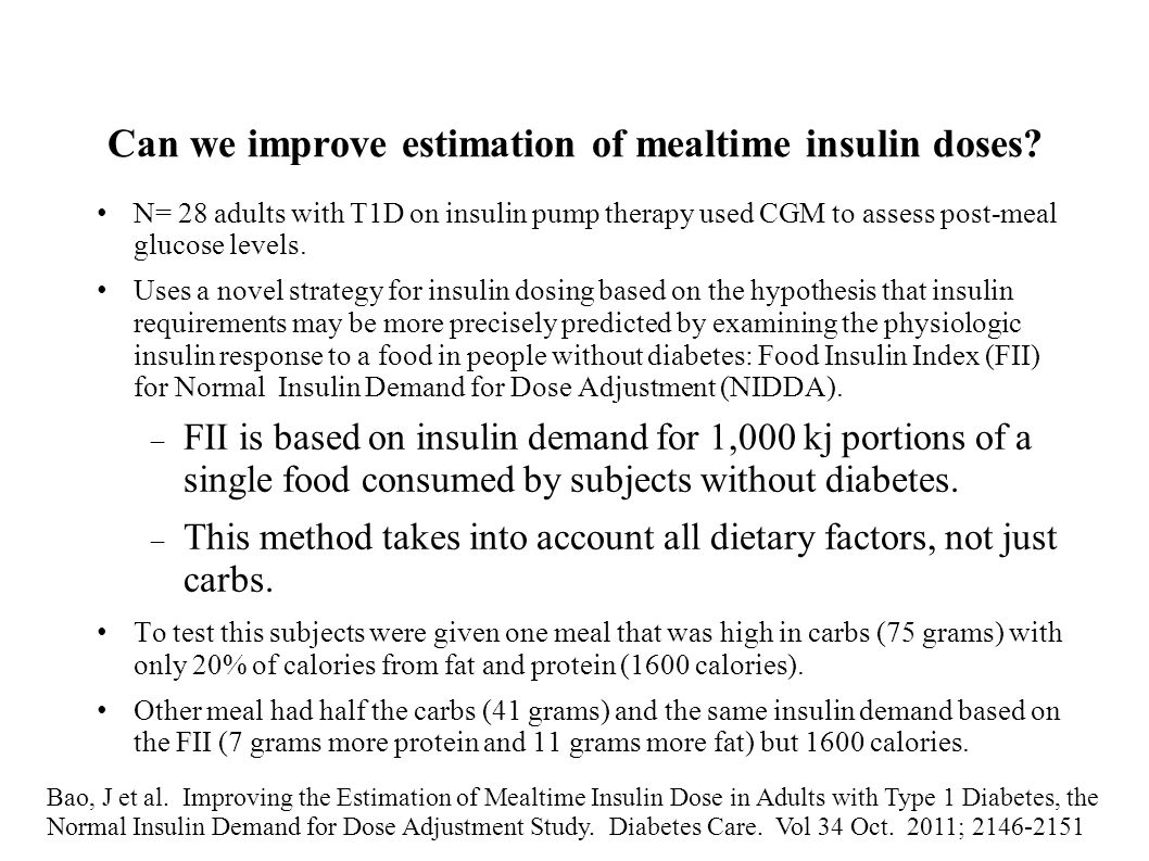 Can we improve estimation of mealtime insulin doses? N= 28 adults with T1D on insulin pump therapy used CGM to assess post-meal glucose levels. Uses a