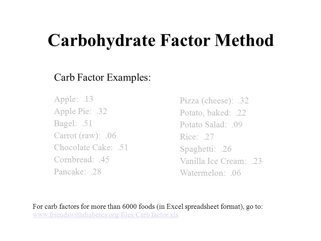 Carbohydrate Factor Method Carb Factor Examples: Apple:.13 Apple Pie:.32 Bagel:.51 Carrot (raw):.06 Chocolate Cake:.51 Cornbread:.45 Pancake:.28 For c