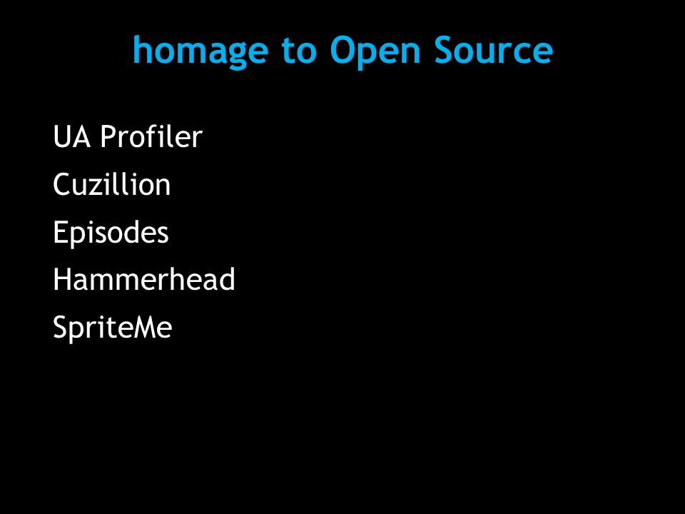 homage to Open Source UA Profiler Cuzillion Episodes Hammerhead SpriteMe