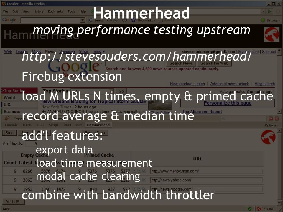 Hammerhead moving performance testing upstream http://stevesouders.com/hammerhead/ Firebug extension load M URLs N times, empty & primed cache record average & median time add l features: export data load time measurement modal cache clearing combine with bandwidth throttler