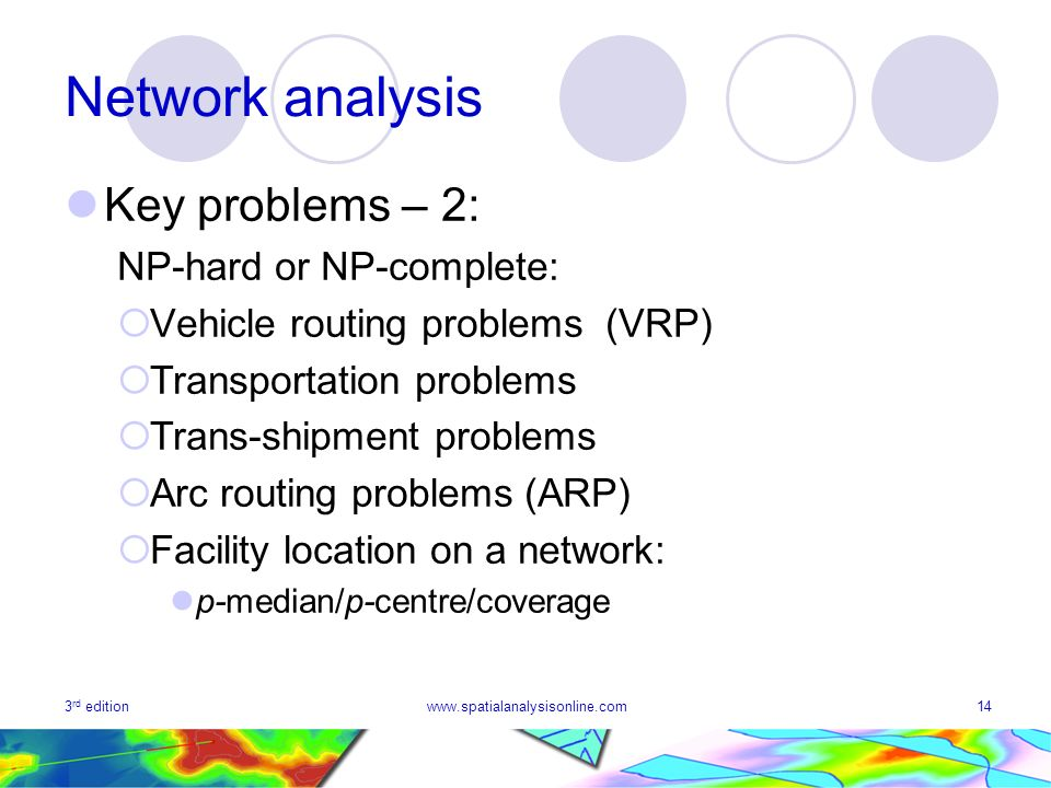 3 rd editionwww.spatialanalysisonline.com14 Network analysis Key problems – 2: NP-hard or NP-complete: Vehicle routing problems (VRP) Transportation problems Trans-shipment problems Arc routing problems (ARP) Facility location on a network: p median/p centre/coverage
