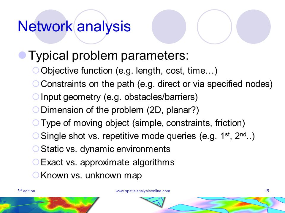 3 rd editionwww.spatialanalysisonline.com15 Network analysis Typical problem parameters: Objective function (e.g. length, cost, time…) Constraints on