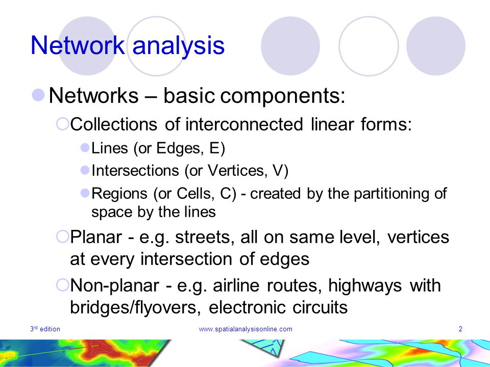 3 rd editionwww.spatialanalysisonline.com2 Network analysis Networks – basic components: Collections of interconnected linear forms: Lines (or Edges,