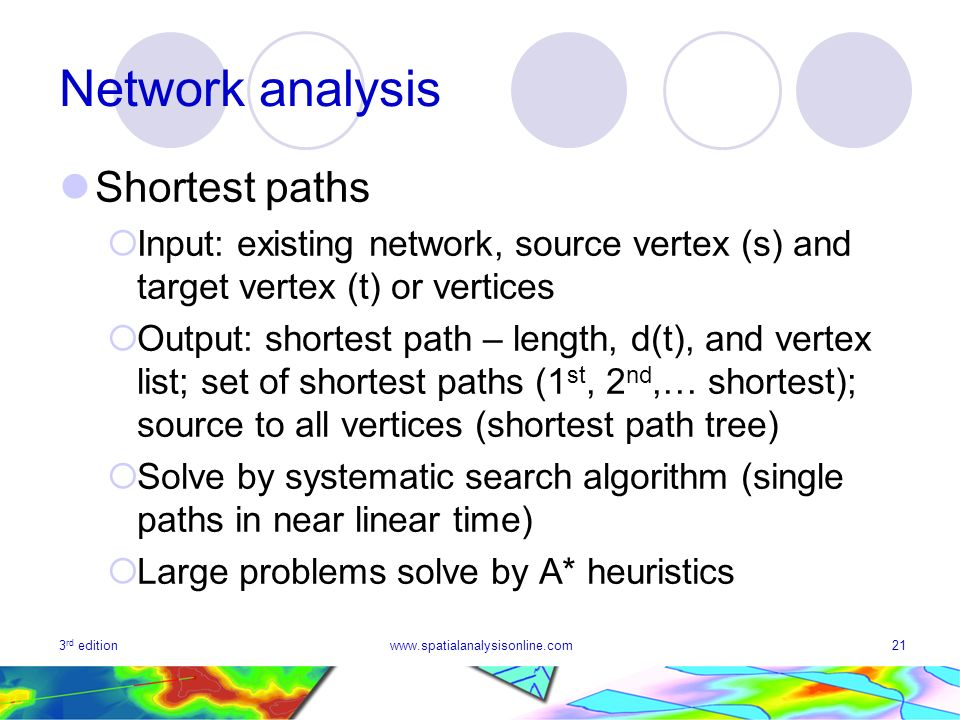 3 rd editionwww.spatialanalysisonline.com21 Network analysis Shortest paths Input: existing network, source vertex (s) and target vertex (t) or vertic