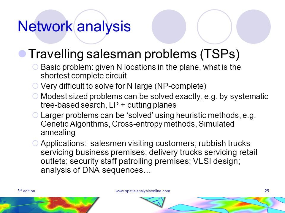 3 rd editionwww.spatialanalysisonline.com25 Network analysis Travelling salesman problems (TSPs) Basic problem: given N locations in the plane, what i