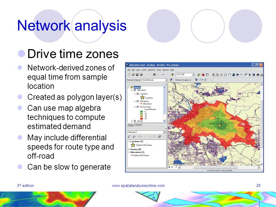3 rd editionwww.spatialanalysisonline.com29 Network analysis Drive time zones Network-derived zones of equal time from sample location Created as polygon layer(s) Can use map algebra techniques to compute estimated demand May include differential speeds for route type and off-road Can be slow to generate
