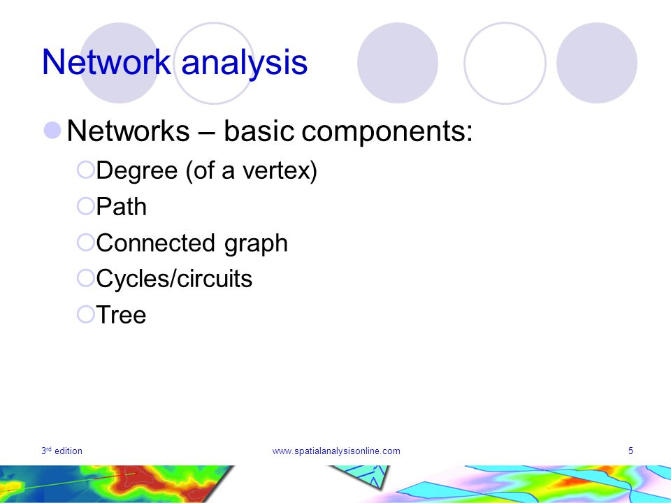 3 rd editionwww.spatialanalysisonline.com5 Network analysis Networks – basic components: Degree (of a vertex) Path Connected graph Cycles/circuits Tree