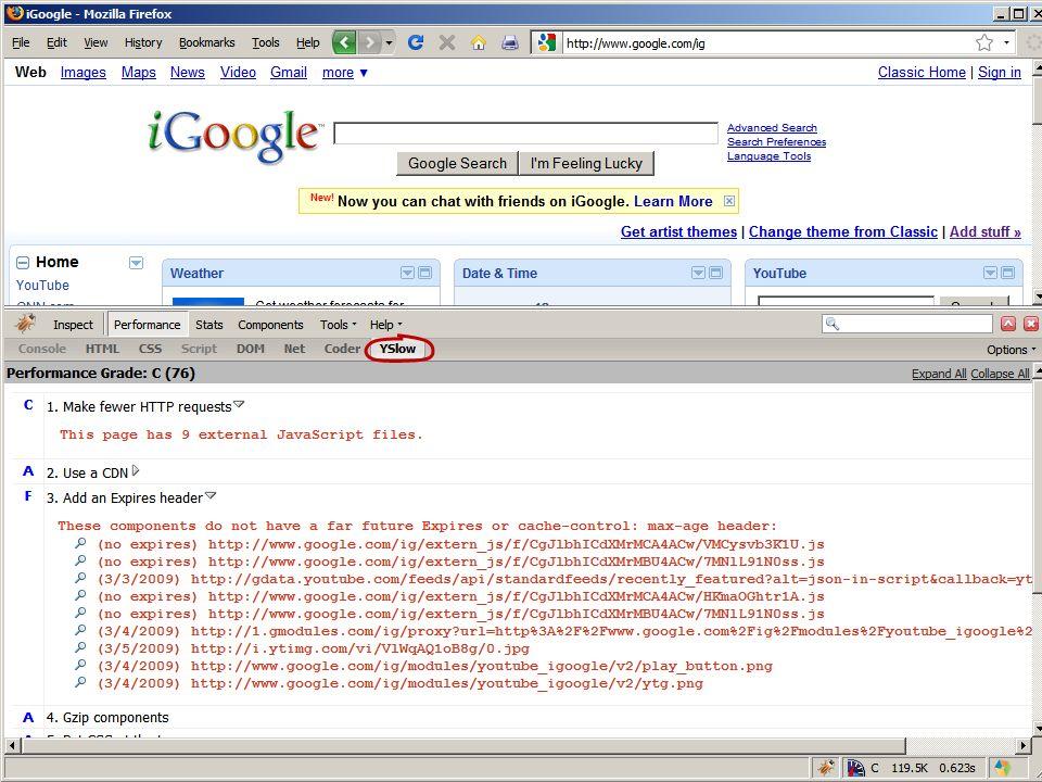 Performance Analyzers: HPWS rules YSlow Page SpeedPagetestVRTAneXpert combine JS & CSSXXX use CSS spritesXX use a CDNXX set Expires in the futureXXXXX gzip text responsesXXXXX put CSS at the topXX put JS at the bottomX avoid CSS expressionsXX make JS & CSS external reduce DNS lookupsXX minify JSXXX avoid redirectsXXXX remove dupe scriptsX remove ETagsXXX