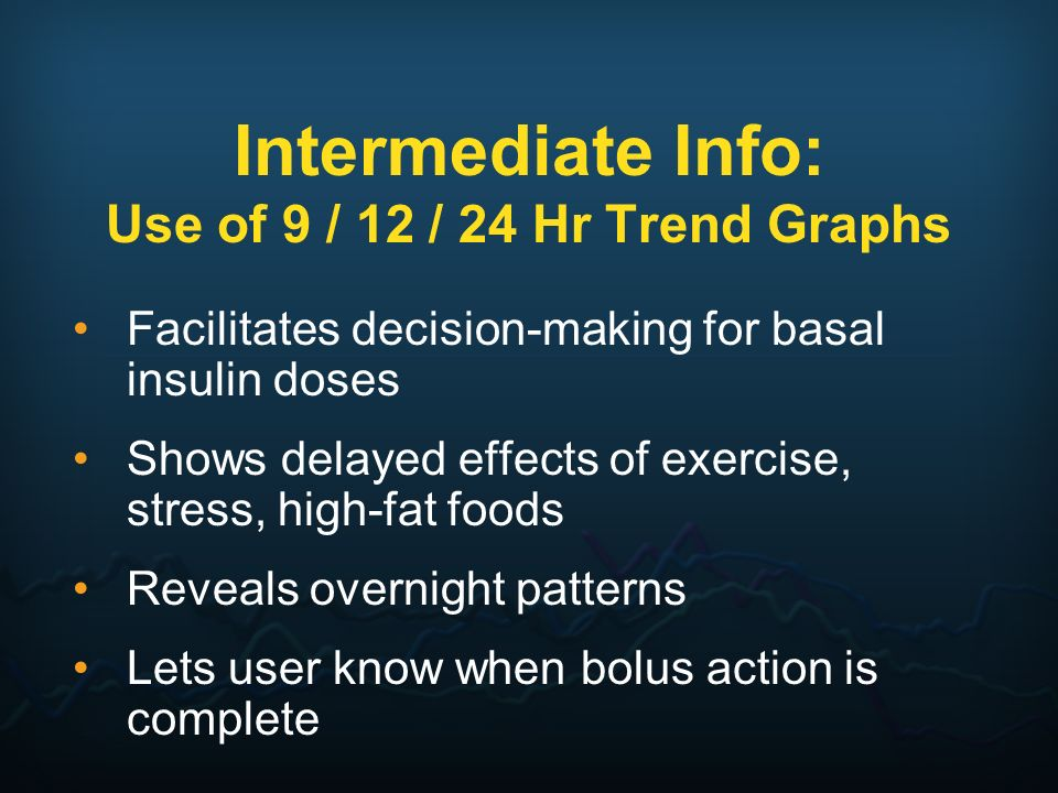 Intermediate Info: Use of 9 / 12 / 24 Hr Trend Graphs Facilitates decision-making for basal insulin doses Shows delayed effects of exercise, stress, h