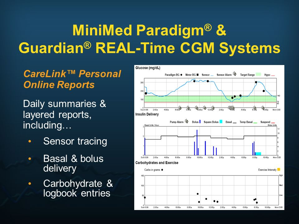 Daily summaries & layered reports, including… Sensor tracing Basal & bolus delivery Carbohydrate & logbook entries MiniMed Paradigm ® & Guardian ® REA