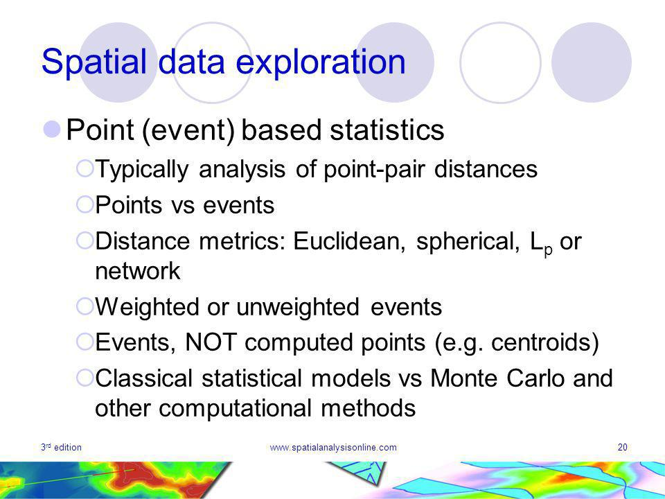3 rd editionwww.spatialanalysisonline.com20 Spatial data exploration Point (event) based statistics Typically analysis of point-pair distances Points vs events Distance metrics: Euclidean, spherical, L p or network Weighted or unweighted events Events, NOT computed points (e.g.