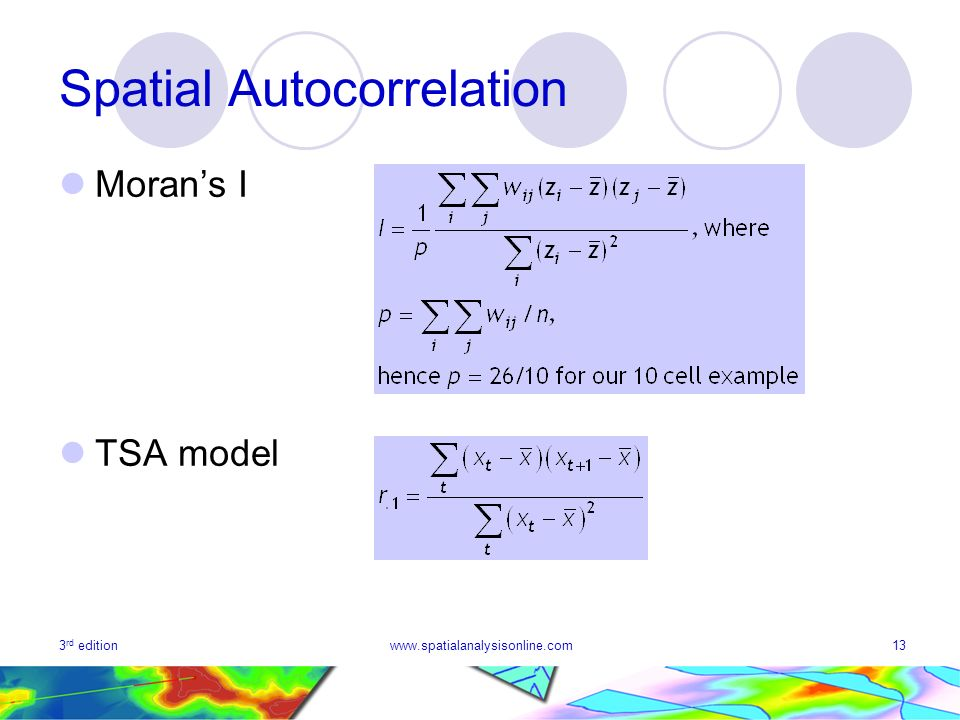 3 rd editionwww.spatialanalysisonline.com13 Spatial Autocorrelation Morans I TSA model