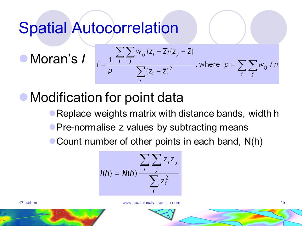 3 rd editionwww.spatialanalysisonline.com15 Spatial Autocorrelation Morans I Modification for point data Replace weights matrix with distance bands, w