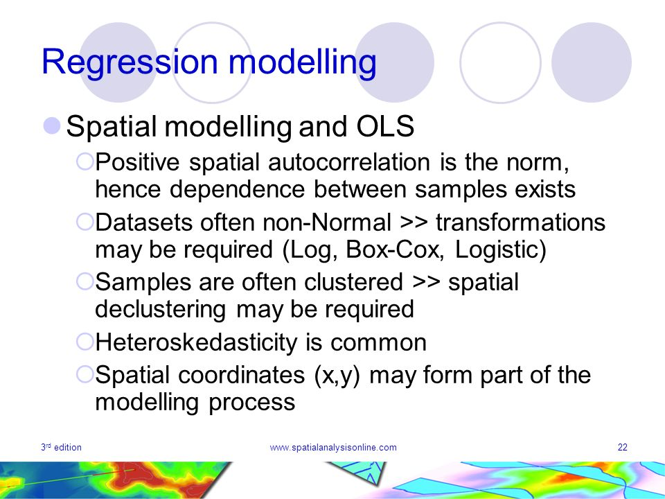 3 rd editionwww.spatialanalysisonline.com22 Regression modelling Spatial modelling and OLS Positive spatial autocorrelation is the norm, hence depende