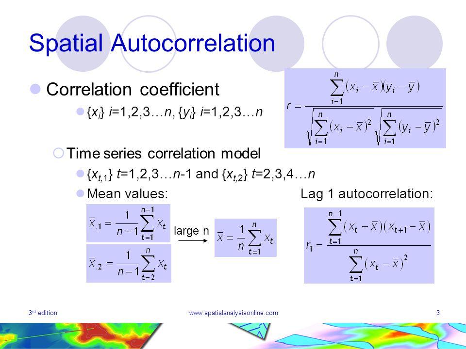 3 rd editionwww.spatialanalysisonline.com3 Spatial Autocorrelation Correlation coefficient {x i } i=1,2,3…n, {y i } i=1,2,3…n Time series correlation