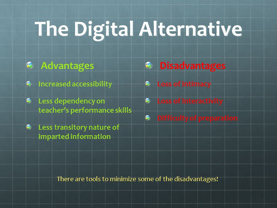 Revised Digital Balance Sheet Advantages Increased accessibility Less dependency on teachers performance skills Less transitory nature of imparted information Disadvantages Difficulty of preparation