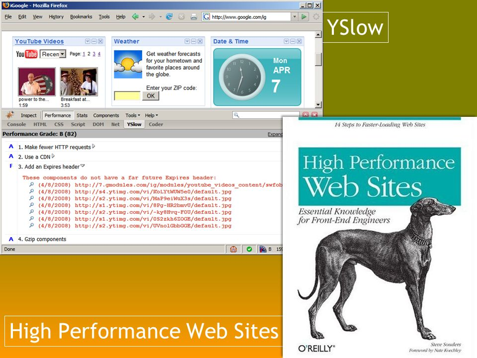 High Performance Web Sites YSlow