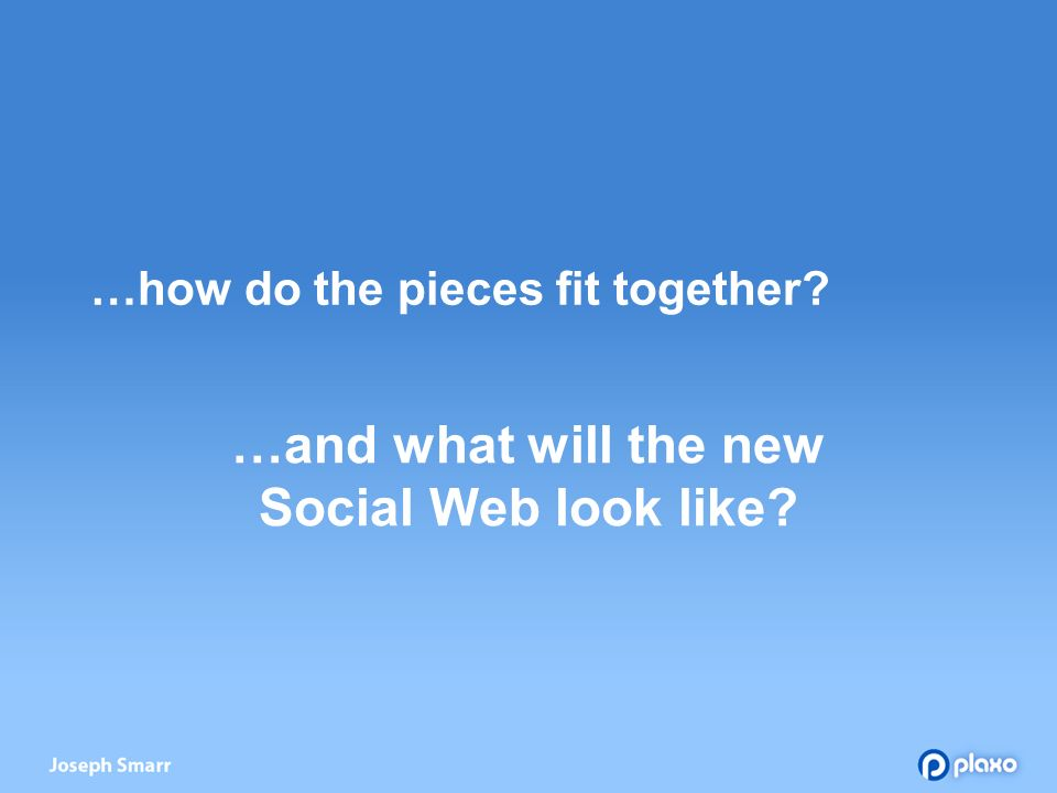…how do the pieces fit together …and what will the new Social Web look like