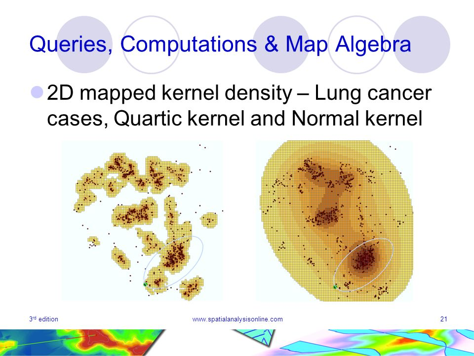 3 rd editionwww.spatialanalysisonline.com21 Queries, Computations & Map Algebra 2D mapped kernel density – Lung cancer cases, Quartic kernel and Normal kernel