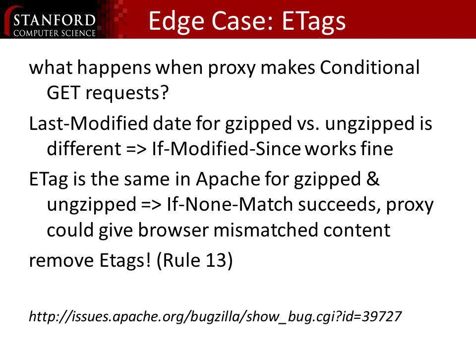 Edge Case: ETags what happens when proxy makes Conditional GET requests? Last-Modified date for gzipped vs. ungzipped is different => If-Modified-Sinc