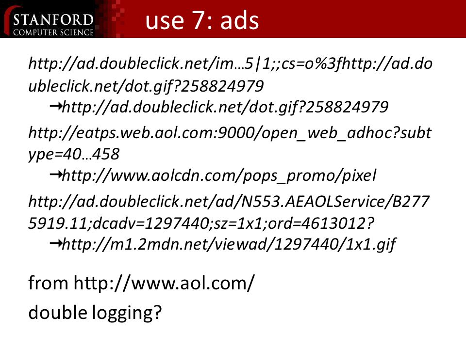 use 7: ads http://ad.doubleclick.net/im … 5|1;;cs=o%3fhttp://ad.do ubleclick.net/dot.gif?258824979 http://ad.doubleclick.net/dot.gif?258824979 http://