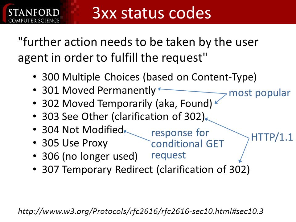 3xx status codes further action needs to be taken by the user agent in order to fulfill the request 300 Multiple Choices (based on Content-Type) 301 Moved Permanently 302 Moved Temporarily (aka, Found) 303 See Other (clarification of 302) 304 Not Modified 305 Use Proxy 306 (no longer used) 307 Temporary Redirect (clarification of 302) http://www.w3.org/Protocols/rfc2616/rfc2616-sec10.html#sec10.3 response for conditional GET request most popular HTTP/1.1