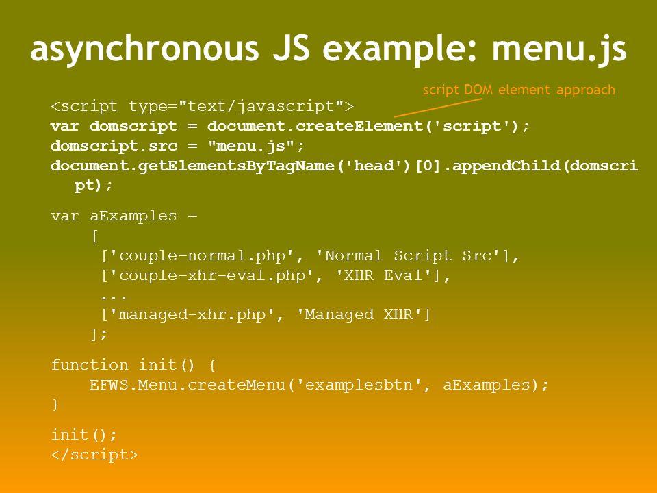 asynchronous JS example: menu.js var domscript = document.createElement('script'); domscript.src =