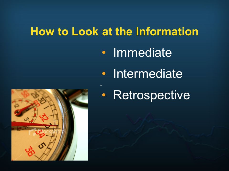 How to Look at the Information Immediate Intermediate Retrospective